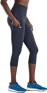 CRZ YOGA Women's Naked Feeling I High Waist Crop Tight Run Training Yoga Capri Leggings with Side Pocket-19 Inches