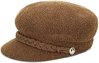 ZiWen Lu Ladies Spring Luxury on The New Knit Japanese Retro Wind Beret Student Tide hat Cotton and Linen Blend Comfortable and Breathable (Color : Brown, Size : M56-58cm)