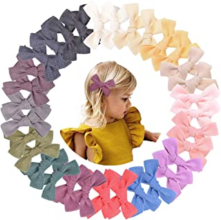 32pcs 3.5in Baby Girls Hair Bows Clips Linen Hair Barrettes Hair Accessories for Kids Toddlers School Girls In Pairs