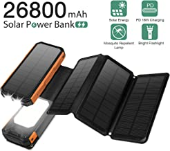 Solar Charger 26800mAh 6W, PD 18W Fast Charger,USB-C In/Output&18W USB Output,with Ultra-Bright 21 LED Light