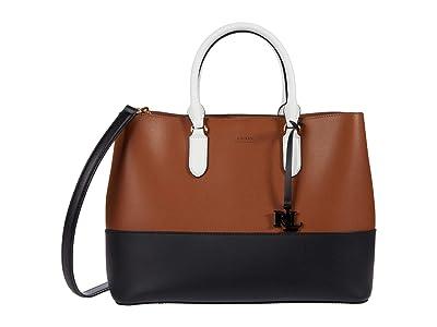 LAUREN Ralph Lauren Super Smooth Marcy Satchel Large (Lauren Tan/Black/Snow White) Handbags