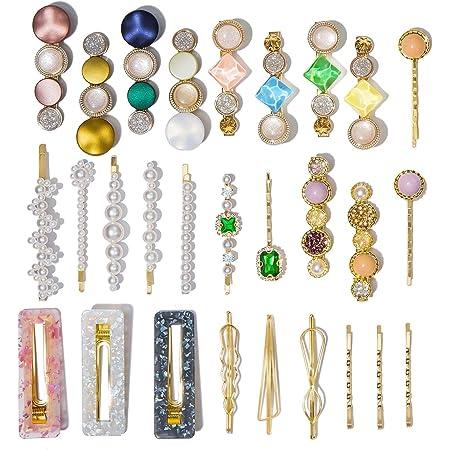 28 Pcs Macaron Hair Clips for Women Acrylic Pearl Hair Clip Handmade Pearl Hair Pins Gifts for Girls Hair Barettes for Women Fashion Hair Accessories for Party Wedding (28 Pcs)
