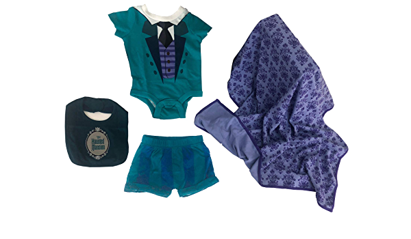12 Months Disney Pirates of The Caribbean 4 Piece Layette Baby Set Blanket Bodysuit Short Hat
