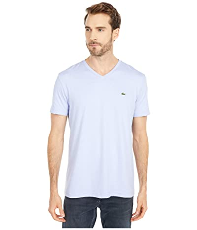 Lacoste V-Neck Stripe T-Shirt (Purpy/White) Men