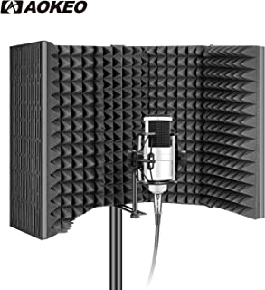 Aokeo AO-605 Professional Studio Recording Microphone Isolation Shield.High Density Absorbent Foam is Used to Filter Vocal, Suitable for Blue Yeti and Any Condenser Microphone Recording Equipment