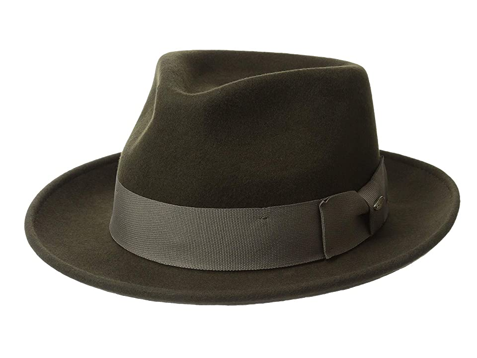 SCALA Wool Felt Fedora with Grosgrain (Olive) Caps