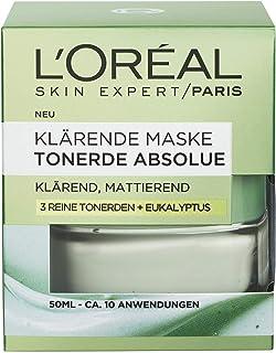 """L""""Oréal Paris Tonerde Absolue Klärende Maske, Gesichtsmaske mit reiner Tonerde und Eukalyptus, klärt die Haut, entfernt Unreinheiten und verfeinert die Poren, 50ml"""
