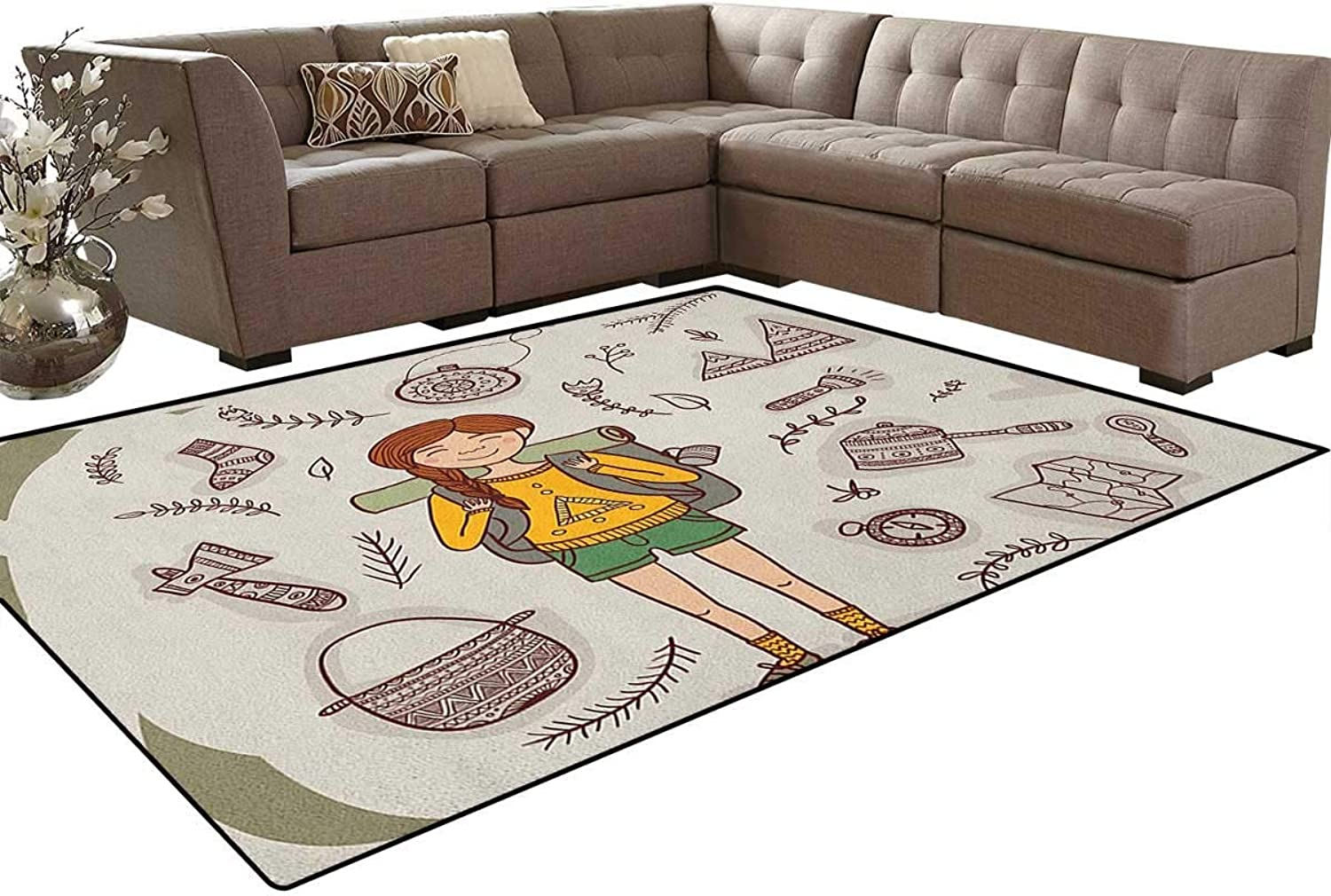 Hiker Girl with a Backpack with Doodle Boho Ethnic Ornate Native American Elements Floor Mat Rug Indoor Front Door Kitchen and Living Room Bedroom Mats Rubber Non Slip