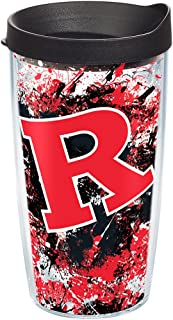 Tervis Rutgers Scarlet Knights Splatter Tumbler with Wrap and Black Lid 16oz, Clear