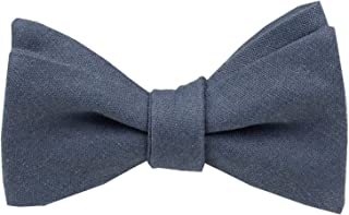 Mens Solid Linen Self Tie Bow Ties-Classic Butterfly Bowties-Wedding-Various Colors