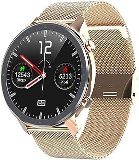 smartwatch inteligentny zegarek ECG tętno ciśnienie krwi tlen krokomierz IP68 bransoletka Bluetooth kamera złota stal