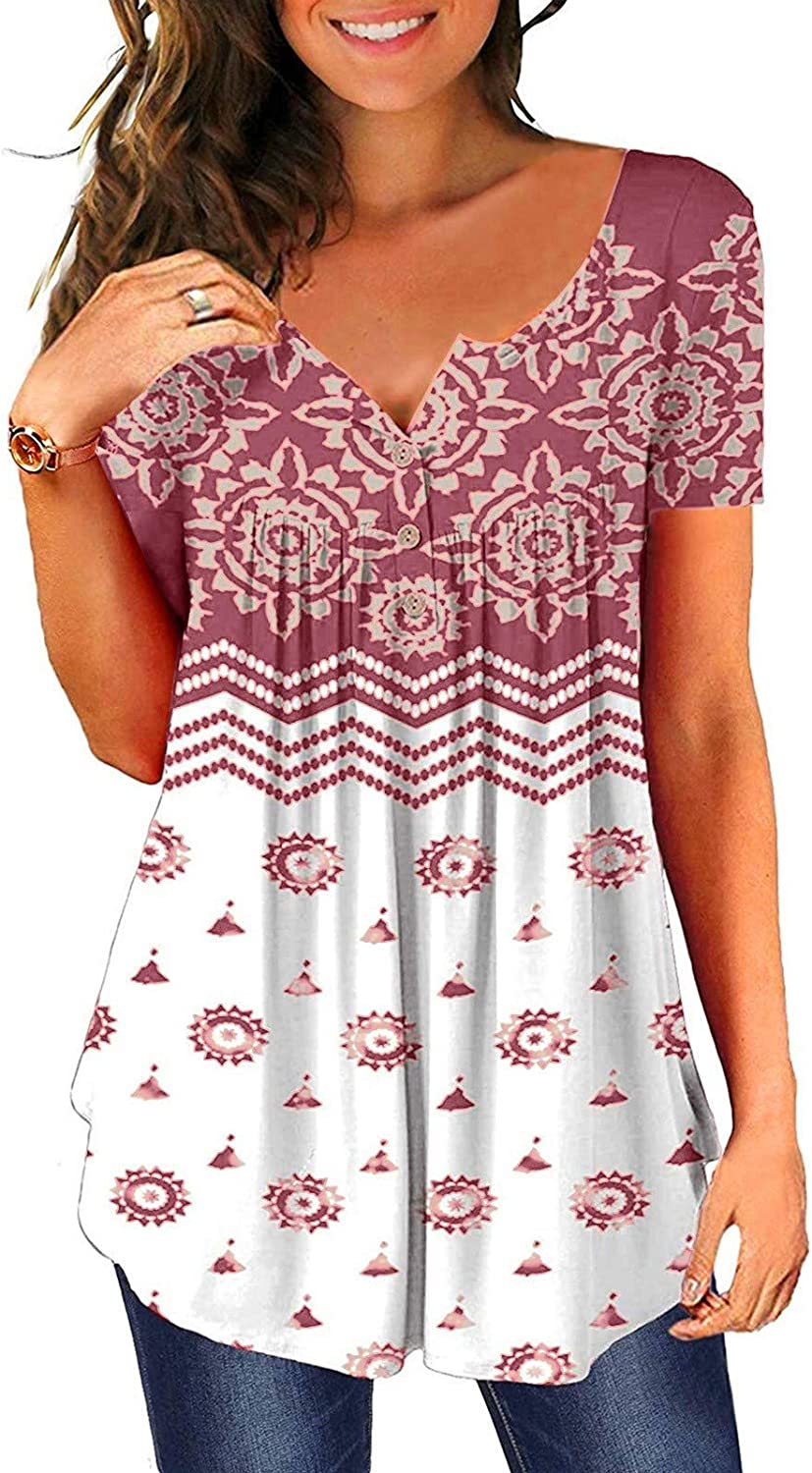 Aukbays Womens Summer Tops Women's Floral Printed Short Sleeve Henley V Neck T-Shirt Pleated Casual Flowy Tunic Blouses