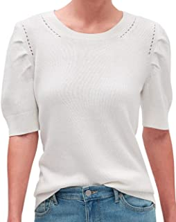 Womens Puffed Short Sleeve Crewneck Sweater Top Off White Ivory