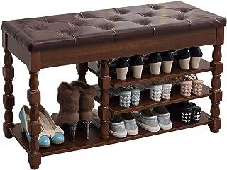 Étagère à Chaussures Organisateur de chaussures à 3 niveaux, étagère de rangement en bois avec coussin pour bottes, banc d...