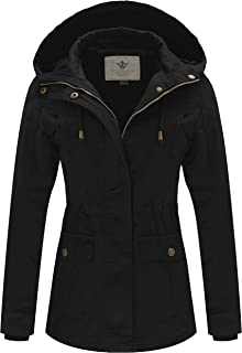 WenVen Women's Spring Cotton Military Coat Anorak Jacket with Detachable Hood