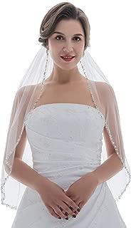 SAMKY 1T 1 Tier Pearl Silver Beads Flower Bridal Wedding Veil