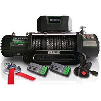 STEGODON New 13000 lb. Load Capacity Electric Winch T2,12V Synthetic Rope Electric Winch with Hawse Fairlead,Waterproof IP67 Winch with Wireless Handheld Remotes and Wired Handle(All Black)