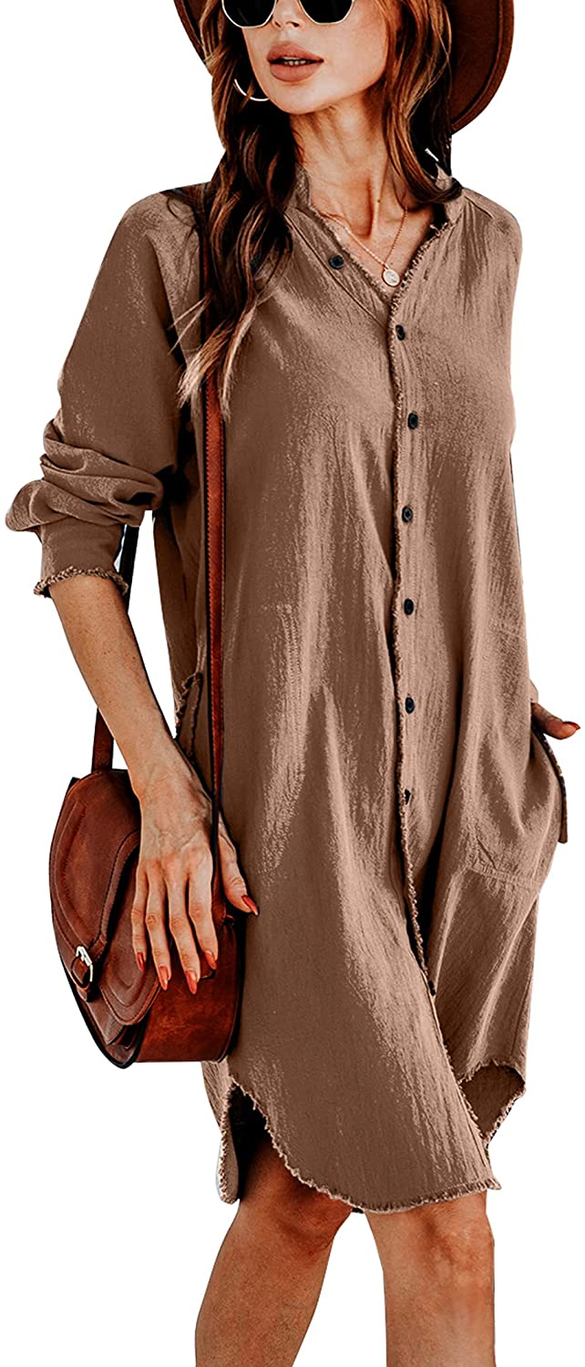 Cowasto Women's Sexy V Neck Long Sleeve Shirt Dress Oversized Button Down Blouse Dress with Pockets