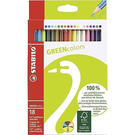 Crayon de coloriage - STABILO GREENcolors - Étui carton de 18 crayons de couleur - Coloris assortis