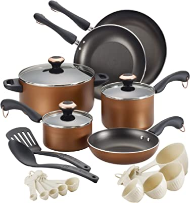 Paula Deen Signature Dishwasher Safe Cookware Sets (Copper, 20-Piece)