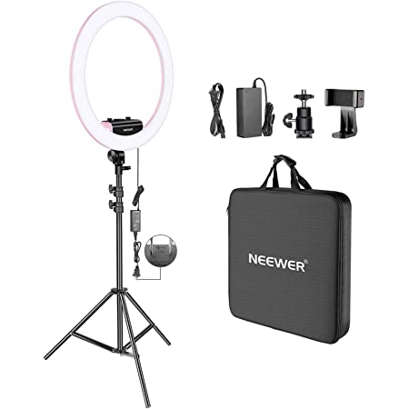 Neewer リングライトキット「アップグレード版-1.8cm超薄型」18インチ、3200-5600K、調光可能 ライトスタンド、回転式スマホホルダー、ホットシューアダプター付き ポートレート、メイクアップ、ビデオ撮影に対応(ピンク)