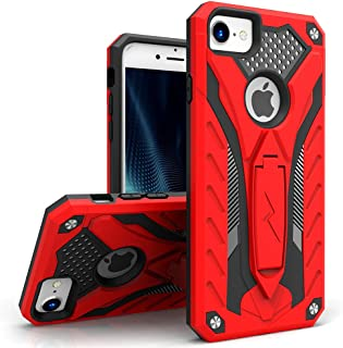 Zizo Static Series Compatible with iPhone 8 Case Military Grade Drop Tested with Built in Kickstand iPhone 7 iPhone 6 Case Red Black