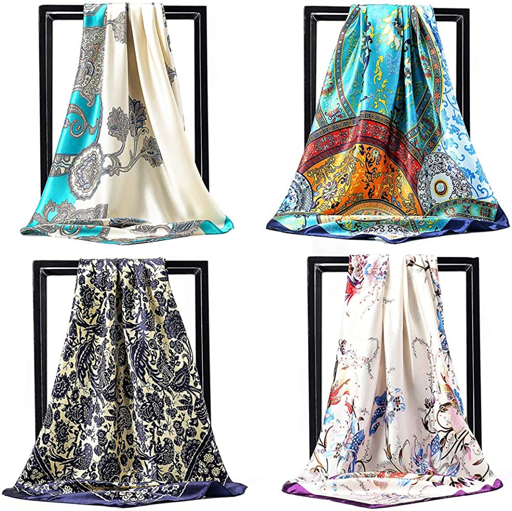 NUWEERIR 4pc Mixed Womens Large Square Set Feeling Silk Over item handling ☆ Inexpensive Scarf Sa