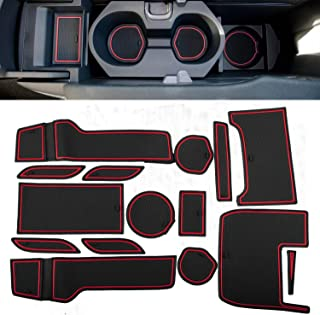 Gekufa Cup Holder and Door Compartment Liner Accessories Compatible with 2016 2017 2018 2019 Honda Civic Door Mats Gate Slot Mat Cup Pads 15PC Set (Front Seat, Red Trim)