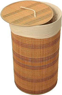 Kiwilon 57 Liter Eco-Friendly Foldable Bamboo Laundry Basket Hamper with Lid, Large (Beige)