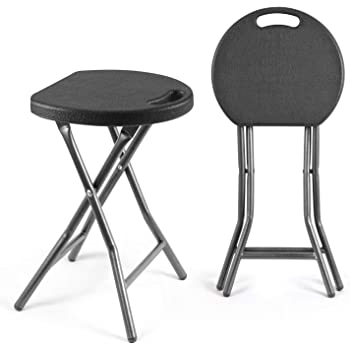 TAVR Portable Folding Stool 18.1 inch Set of 2 Heavy Duty Fold up Stool Metal and Plastic Foldable Stool for Adults Kitchen Garden Bathroom Collapsible Round Stool,300lbs Capacity,Black