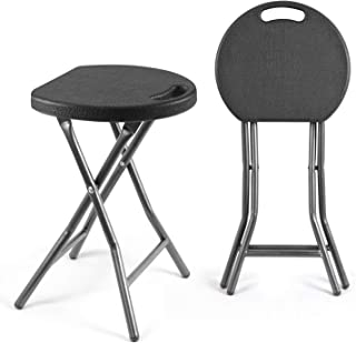 TAVR Portable Folding Stool 18.1 inch Set of 2 Heavy Duty Fold up Stool Metal and Plastic Foldable Stool for Adults Kitchen Garden Bathroom Collapsible Round Stool,300lbs Capacity,Black,CH1001