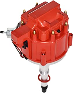 A-Team Performance HEI Complete Distributor 65,000-volt Coil Male Cap Compatible with AMC Jeep V8 290, 304, 343, 360 390 401 One Wire Installation, Red Cap