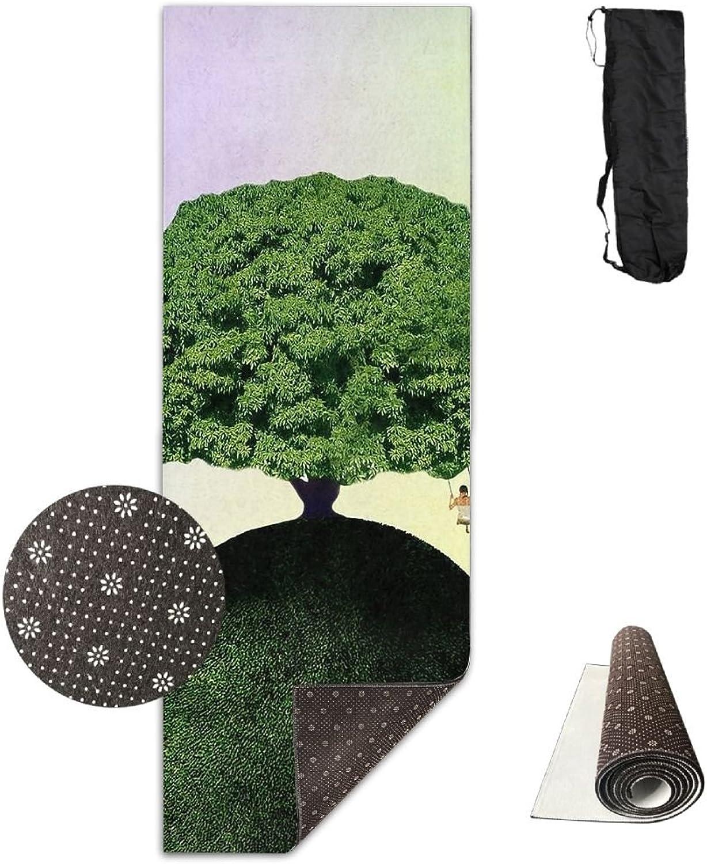 Yoga Mat Non Slip 24  X 71  Exercise Mats Tree On Head Premium Fitness Pilates Carrying Strap