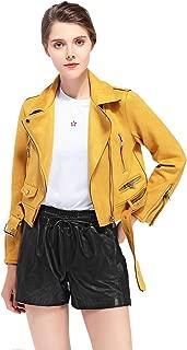 Women's Faux Suede Leather Biker Jacket Belted Coat with Zipper