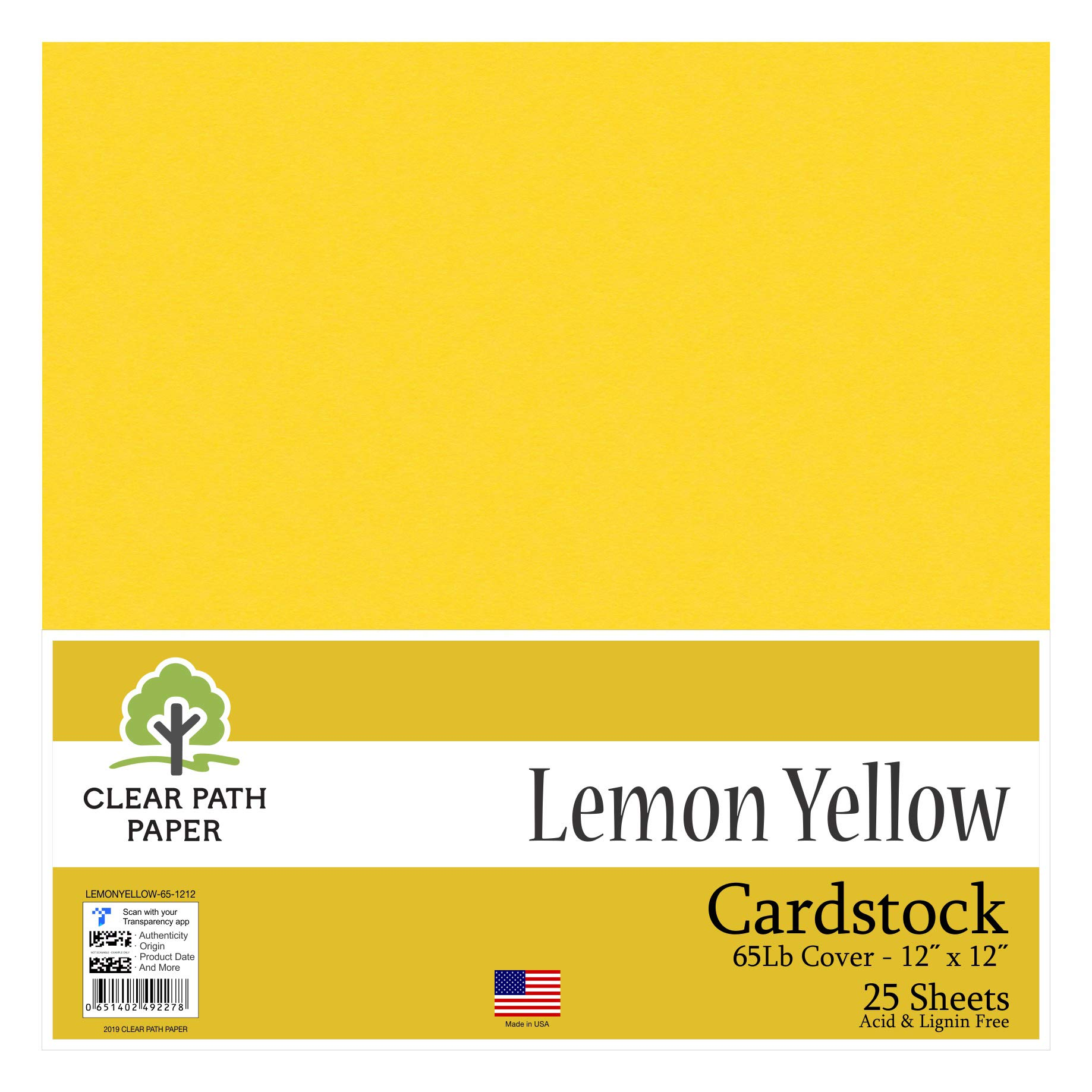 Lemon Yellow Cardstock - 5 x 5 inch - 5Lb Cover 5 x 5 Inch