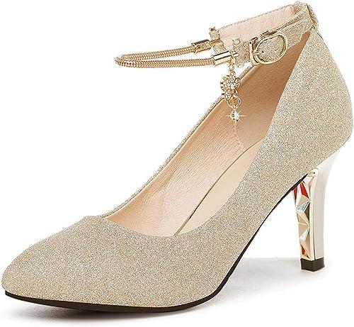 Sandalias Cómodas Antideslizantes Calzadillas Individuales con Punta Salvaje zapatos de mujer Dorado