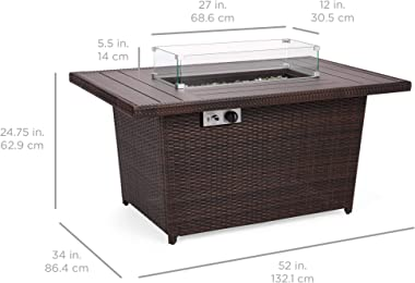 Best Choice Products 52in 50,000 BTU Outdoor Wicker Patio Propane Gas Fire Pit Table w/Aluminum Tabletop, Glass Wind Guard, C