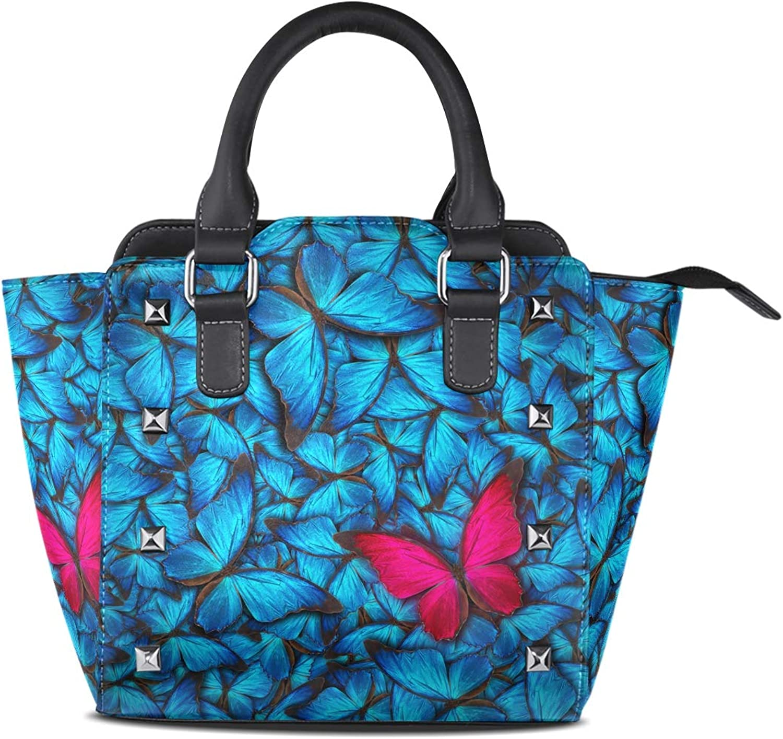 My Little Nest Women's Top Handle Satchel Handbag Beautiful Different Butterflys Ladies PU Leather Shoulder Bag Crossbody Bag