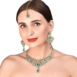 Touchstone Hollywood Glamour White Faux Green Emerald Faux Blue Quartz Colorful Grand Designer Wedding Jewelry Hasli Neckl...
