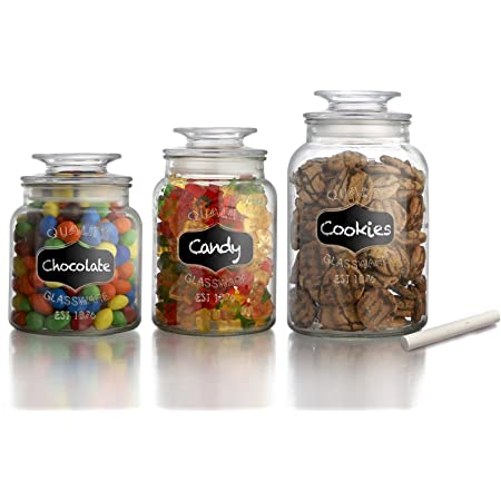 American Atelier Canister Set 3 Piece Glass Jars In 33oz 44oz 60oz Chic Retro W Airtight Lids Chalkboard For Cookies Candy Coffee Flour Sugar Rice Pasta Cereal More Food Savers