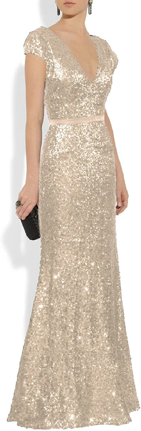 YSMei Women's Long Sequin Evening Gown V Neck Cap Sleeve Prom Dress Ypm323