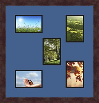 Art to Frames Double-Multimat-1151-762//89-FRBW26079 Collage Photo Frame Double Mat with 1-5x7 and 5-4x6 Openings and Satin Black Frame