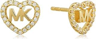 Michael Kors Women Cubic Zirconia Hearts Earrings Gold Plated