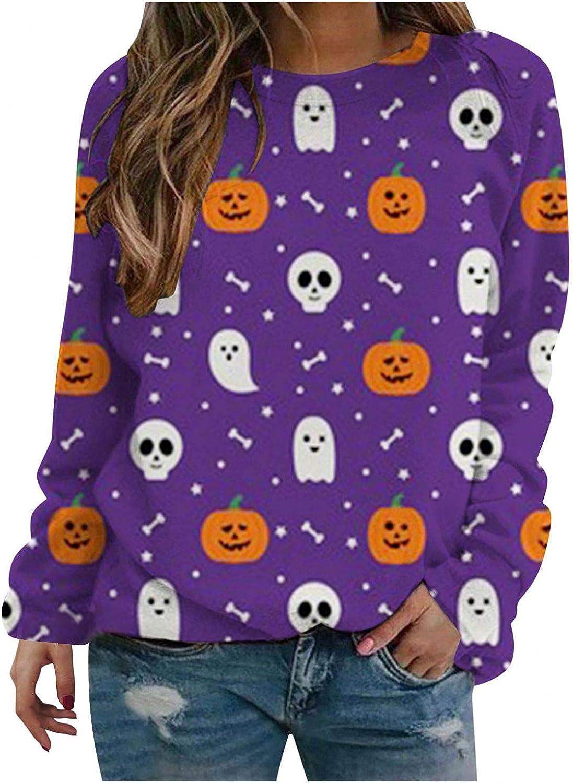 TAYBAGH Halloween Shirts for Women,Womens Fashion Funny Pumpkin Print Long Sleeve Sweatshirt Casual Pullover Blouse Tops