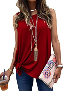Allimy Women Summer Knot Front Tank Tops Casual Loose...