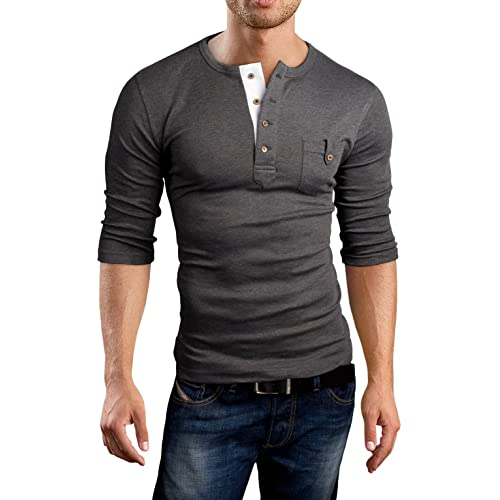 d5ee4f138b42 Grin Bear Men s slim fit 3 4 Sleeve Henley Shirt T-Shirt, ...