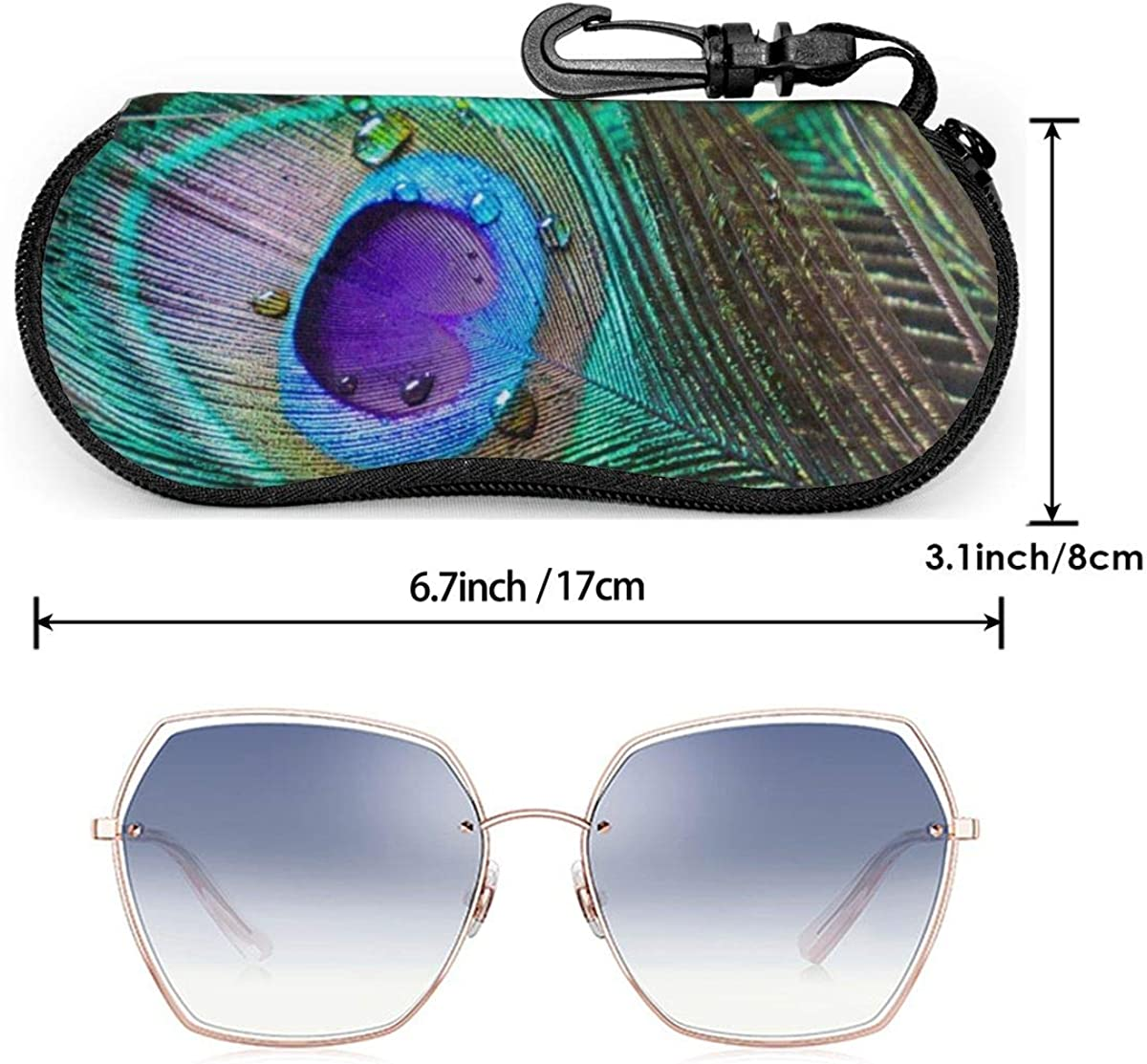 Peacock Feather Abstract Sunglasses Soft Case Ultra Light Neoprene Zipper Eyeglass Case With Key Chain