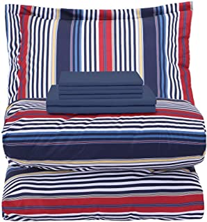 EMME 5-Piece Bed-in-A-Bag Bedding Comforter Set Luxurious Brushed Microfiber Goose Down Alternative Comforter Soft and Comfortable Machine Washable (Twin/Twin XL, Navy & Red Stripe)