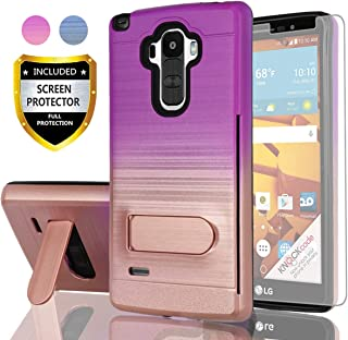 AYMECL LG G Stylo Phone Case,LG G4 Stylus Case with HD Screen Protector,(Not Fit LG G4)[Card Slots Holder] Plastic TPU Hybrid Gradient Color Shockproof Case for LG LS770-GC Purple&Rose Gold