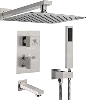 Shower System with Waterfall Tub Spout Shower Faucet Set with 10 Inch Rain Shower Head..